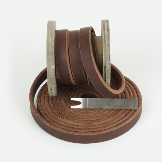 Fettleder Meterware, Endlosriemen, Braun
