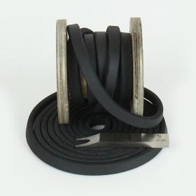 Fettlederriemen, 25mm, Schwarz mit Prägung